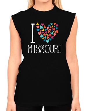I love Missouri colorful hearts T-Shirt - Sleeveless-Womens
