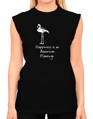 Happiness is a American Flamingo T-Shirt - Sleeveless-Womens