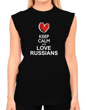 Keep calm and love Russians chalk style T-Shirt - Sleeveless-Womens