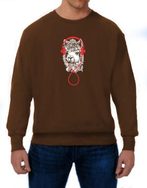 Llama with headphones Sweatshirt