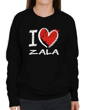 I love Zala chalk style Sweatshirt-Womens