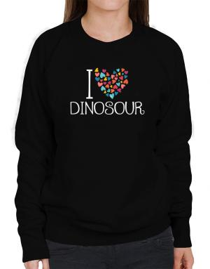 I love Dinosour colorful hearts Sweatshirt-Womens