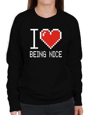 I love Being Nice pixelated Sweatshirt-Womens