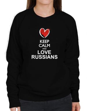 Keep calm and love Russians chalk style Sweatshirt-Womens