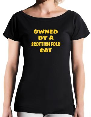 Owned By S Scottish Fold T-Shirt - Boat-Neck-Womens