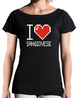 I love Sangiovese pixelated T-Shirt - Boat-Neck-Womens