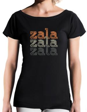 Zala repeat retro T-Shirt - Boat-Neck-Womens