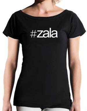 Hashtag Zala T-Shirt - Boat-Neck-Womens