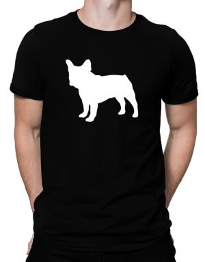 French Bulldog Silhouette Embroidery Men T-Shirt