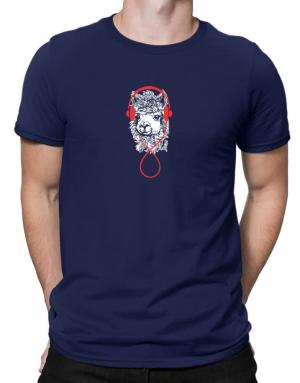 Camisetas de Llama with headphones