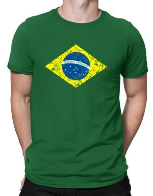 Brasil Flag worn style Men T-Shirt