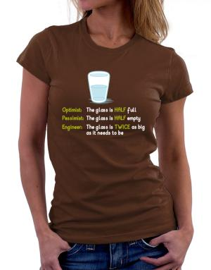 Polo de Dama de Optimist pessimist engineer glass problem