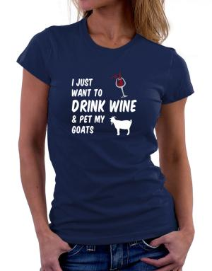 Polo de Dama de I just want to drink wine and pet my goats
