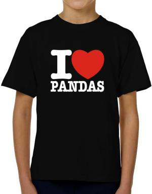 I Love Pandas T-Shirt Boys Youth