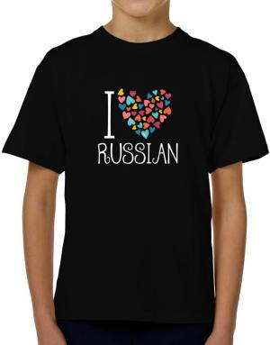 I love Russian colorful hearts T-Shirt Boys Youth