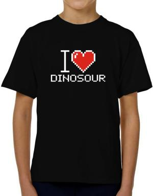 I love Dinosour pixelated T-Shirt Boys Youth