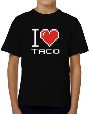 I love Taco pixelated T-Shirt Boys Youth