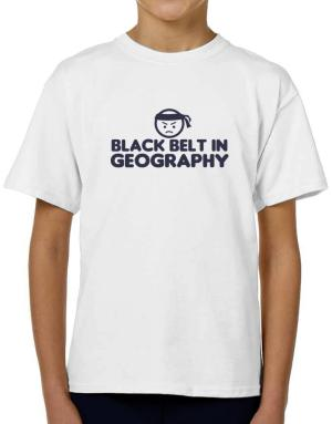 Black Belt In Geography T-Shirt Boys Youth