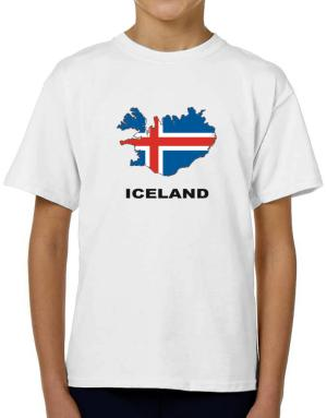 Iceland - Country Map Color T-Shirt Boys Youth
