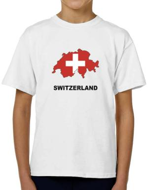 Switzerland - Country Map Color T-Shirt Boys Youth