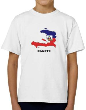 Haiti - Country Map Color T-Shirt Boys Youth
