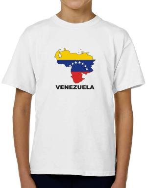 Venezuela - Country Map Color T-Shirt Boys Youth