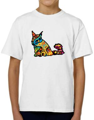 Psychedelic Maine Coon T-Shirt Boys Youth