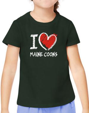 I love Maine Coons chalk style T-Shirt Girls Youth