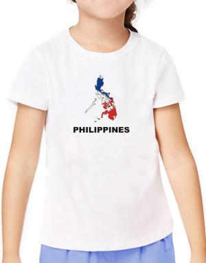 Philippines - Country Map Color T-Shirt Girls Youth