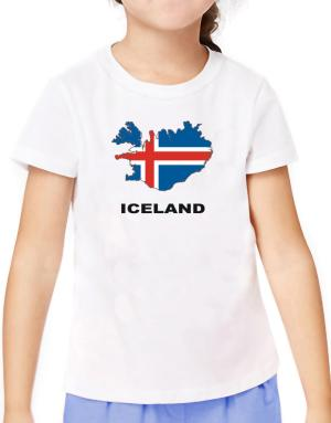 Iceland - Country Map Color T-Shirt Girls Youth