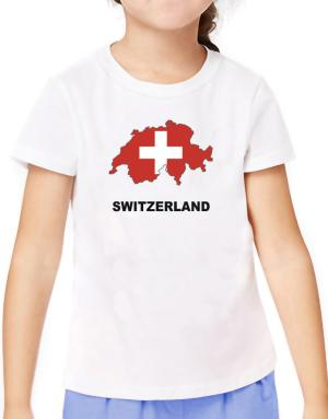 Switzerland - Country Map Color T-Shirt Girls Youth