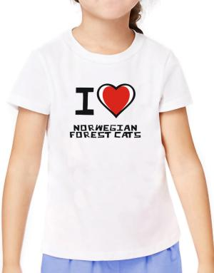 I Love Norwegian Forest Cats T-Shirt Girls Youth
