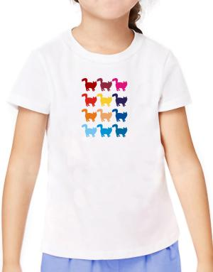 Colorful Norwegian Forest Cat T-Shirt Girls Youth