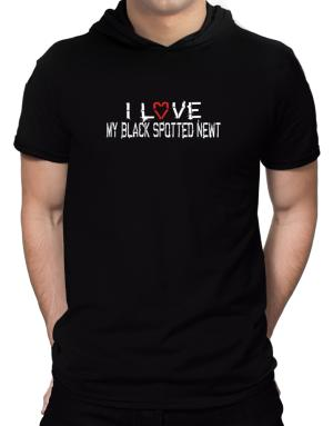I Love My Black Spotted Newt Hooded T-Shirt - Mens