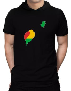 Sao Tome And Principe - Country Map Color Simple Hooded T-Shirt - Mens