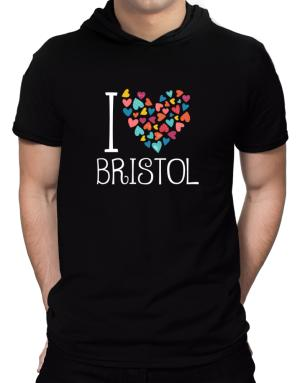 I love Bristol colorful hearts Hooded T-Shirt - Mens