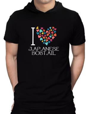 I love Japanese Bobtail colorful hearts Hooded T-Shirt - Mens