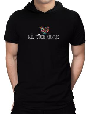 I love Bull Terrier Miniature colorful hearts Hooded T-Shirt - Mens