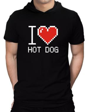 I love Hot Dog pixelated Hooded T-Shirt - Mens