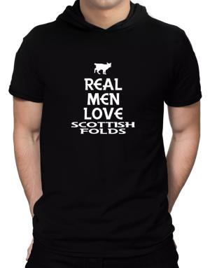 Real men love Scottish Folds Hooded T-Shirt - Mens