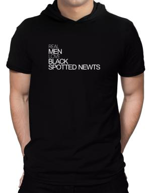 Real men love Black Spotted Newts Hooded T-Shirt - Mens
