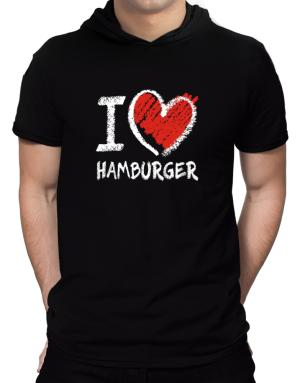 I love Hamburger chalk style Hooded T-Shirt - Mens