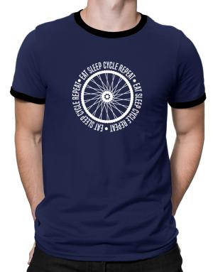 Eat sleep cycle repeat Ringer T-Shirt