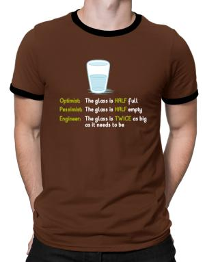 Playeras Ringer de Optimist pessimist engineer glass problem