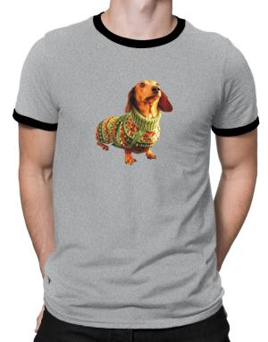 Dachshund christmas sweater Ringer T-Shirt