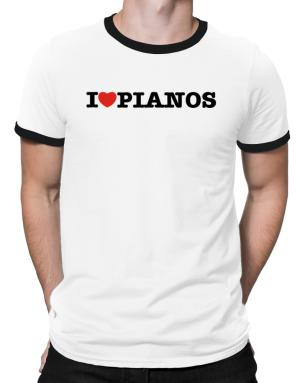 I Love Pianos Ringer T-Shirt