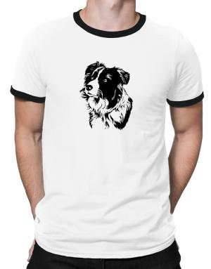 Border Collie Face Special Graphic Ringer T-Shirt