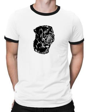 Rottweiler Face Special Graphic Ringer T-Shirt