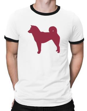 Shiba Inu Silhouette Embroidery Ringer T-Shirt