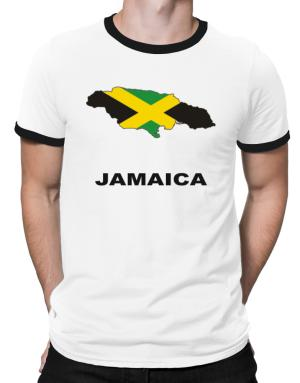 Jamaica - Country Map Color Ringer T-Shirt